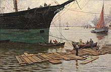 RADERMACHER J. (Maler 2.H.19.Jh.) ''Hafenszenerie'