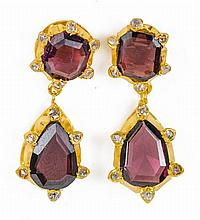 A PAIR OF 19TH CENTURY GARNET, DIAMOND AND GOLD EARRINGS