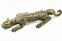 A CHINESE BRONZE GILT CAT STATUE