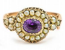 A LATE REGENCY AMETHYST AND SEED PEARL CLUSTER RING