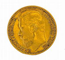 AN 1897 RUSSIAN 15 RUBLE GOLD COIN