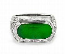 AN 18CT GOLD CERTIFICATED NO TREATMENT JADEITE AND DIAMOND RING
