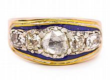A GEORGIAN ENAMEL AND DIAMOND DRESS RING