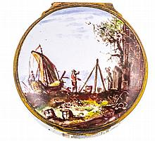 AN 18TH CENTURY BIRMINGHAM ENAMEL SNUFF BOX