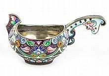 A PRE REVOLUTION RUSSIAN ENAMEL AND SILVER CUP