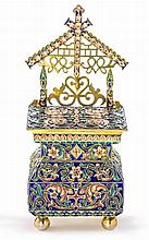 A PRE REVOLUTION RUSSIAN SILVER AND ENAMEL SALT THRONE