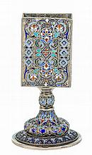 A PRE REVOLUTION RUSSIAN ENAMEL AND SILVER GILT MATCH BOX HOLDER