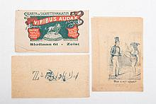 [Cigars], Album with ca. 150 various cigar brands, receipts,  packagings and advertisements,  from c