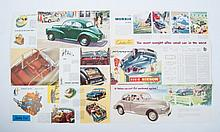 Automobile brochures - Morris and others, Lot with 1950s automobile brochures. Including Morris Mino