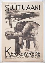 Aart van Dobbenburgh, Sluit u Aan. Kerk en Vrede. Senefelder, Amsterdam, 1935. 94 x 64 cm. *In 1934