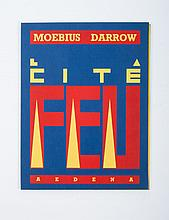 Moebius-Darrow - Portfolio Cit Feu, Aedena, 1985. In blue cloth folder with text in yellow and red.