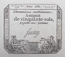 [Banknotes] Assignat de cinquante sols payable au porteur - Série 2685. Loi du 23 Mai 1793. Uncut sheet with 20 blindstamped bank notes. 38 x 50.5 cm. Assignats are obligations distributed by the National Assembly during the French revolution. They