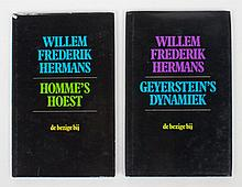 Willem Frederik Hermans  -  Geyerstein's Dynamiek. De Bezige Bij, 1982. First ed., cloth with dust jacket. first 14 p. printed, else blank pages + Homme's Hoest, de Bezige Bij, 1st ed., 1980. First 8 p. printed, else blank pages. (total 2)