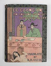 [Van Gulik] Dee Goong An - An Ancient Chinese detective story: Tokyo, Toppan Printing Company, 1949. 238 pp, hc., original woodcut in colour on front cover. First edition, no. 15 of 1200. Signed by Van Gulik, with a dedication to his two brothers.