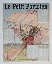 [Aviation] Le petit Parisien 1909  -  Lithographed calendar. Free promotional material of Le petit Parisien magazine. Woman in airplane as subject. 30.5 x 24.5 cm.