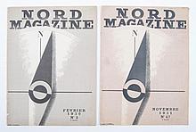 [Cassandre] Nord Magazine  -  Février 1930 no. 2 + Novembre 1931. No. 47. Cover design A. Mouron
