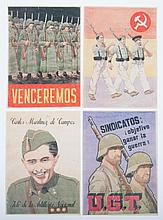 [Spanish Civil War] Original watercolour Spanish Civil War 1937 - Original socialist and communist watercolours, in colour and black ink. 41.5 x 29.5 cm. Intended for posters from the days of the Spanish Civil War. It remains unknown whether these