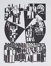 Gert Arntz Wahldrehscheibe  -  Screen print, 1981. No. 10/100. Image size 30 x 24 cm. Paper size 43.5 x 32.5 cm. Signature bottom r. 1932/'81. Framed under glass.