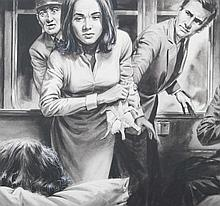 Charles Burki (Magelang, 1909?The Hague, 1994)  -  Scene in train compartment. Gouache in b/w. 22 x 45.5 cm. Sign. bottom l., 1967. Mounted.