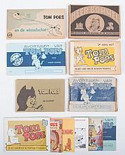 Tom Poes  -  Tom Poes ontdekt het geheim der blauwe aarde. Telegraaf/Nieuws van de Dag, 1941 + Tom Poes in de Toovertuin. 2nd vol., Telegraaf/Nieuws van de Dag, 1942. Both soiled + Tom Poes Niemeijer series, vol. 1
