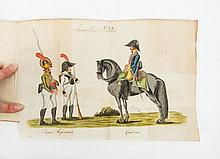 [Manuscript] Koenigreich Spanien. ca. 1820 - Cased. Small 8vo, title on spine in red, green and gilt stamping, 465 pp. written German text and at the end 15 pp. with pasted engravings of among other things a piece of music: Der Fadango, a gouache