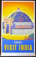 PRICE CUT200! SANCHI VISIT INDIA 1950'S INDIA TRAVEL POSTER BUDDHIST MONUMENT!