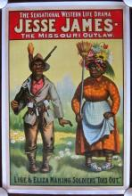 PRICE CUT! JESSE JAMES THE MISSOURI OUTLAW ORIG 1890'S LB BLACK AMERICANA POSTER