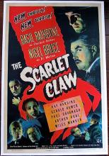 SCARLET CLAW '44 LB 1 SH POSTER BASIL RATHBONE IS SHERLOCK HOLMES CLASSIC! LOOK!