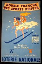 LOTERIE NATIONALE - ORIGINAL 1954 FRENCH LOTTERY POSTER - TAUZIN SKIING ART!!