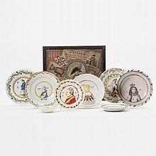 A 'trompe-l'oeil' still life and eight pieces of 'oranje' ceramics