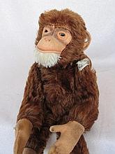 Scarce mohair US Zone Steiff 'Jocko' Monkey 28cm, glass eyes, script button