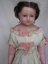 English Poured Wax Child c1860-70s shoulderhead 22