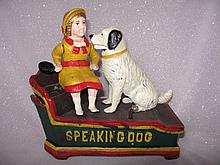 Cast Iron replica 'Speaking Dog' Money bank with seated girl and dog, 20cm