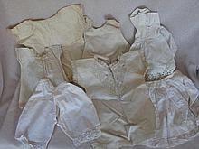 Mixed 23 pieces white wear Antique dolls clothes mostly under garments, bol