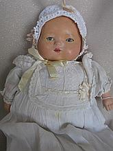 Two vintage dolls:- 41cm Japan Celluloid in blue sailor outfit, fading to p