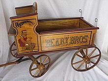 Modern wood BJ Bartholomew 'Beary Bros' pullalong open wagon 64cm lg