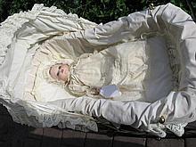 Modern replica Doll pram 94cm to cream material hood cane weave