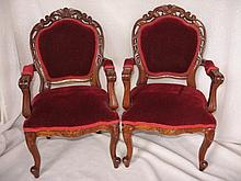 Two matching Doll Chairs 43cm with burgundy velvet