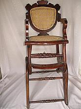 Vintage stained wood Baby high chair with curved back