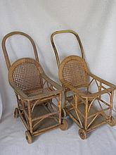 Two vintage Doll Pushers to 50cm wood wheels, cane / cane weave and wood ba