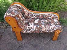 Doll or Bear prop Chaise lounge with bear pattern material and wood 76cm lo