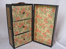 All original wood 1910s Doll Trunk 31L x 14.6W x 16cm, original wallpaper