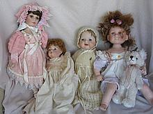 Twelve mixed artist & modern dolls includes:- Brown yinvl baby, Musical, Ch
