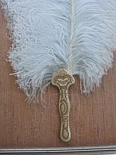 Edwardian framed c1900s Ostrich Feather fan with shaped ivory handle. Long