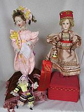 Two reproduction musical Lambert Automaton French artist porcelain dolls 41