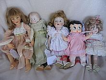 Eight mixed dolls to 46cm:- Shirley Temple, Repro Artist dolls, Betty Boop,