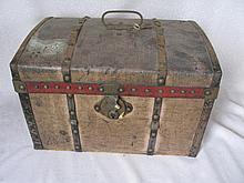 Wood c1850-60s French Doll Steamer Trunk 36L x 21W x 23cm