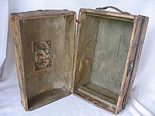 Wood 1890s Doll Steamer Trunk 36L x 22W x 24cm