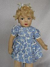 English 41cm 1930s Chad Valley cloth child. Painted side glancing eyes, blo