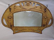 Vintage Art Deco Wall Coat rack with bevelled mirror